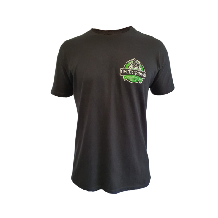 Celtic Rider Black t-Shirt with logo on chest