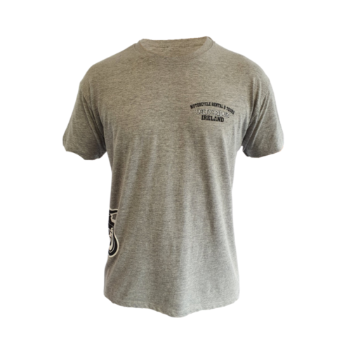 Marl grey t-shirt with CELTIC RIDER MOTORCYCLE RENTAL IRELAND wrote on the chest in black and white