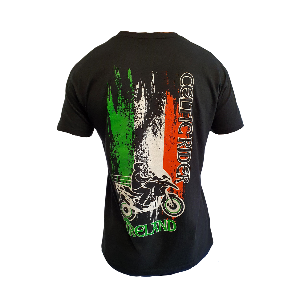 Celtic Rider Black t-Shirt with Irish Flag and BMW GS on back